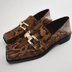 NWT ZARA | Animal Print Open Back Leather Loafers